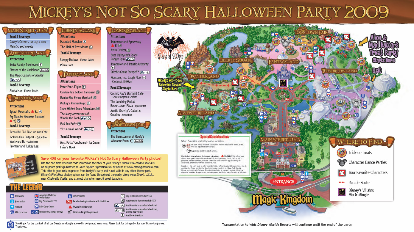 Mickey's Not-So-Scary Halloween Party guide map 2009