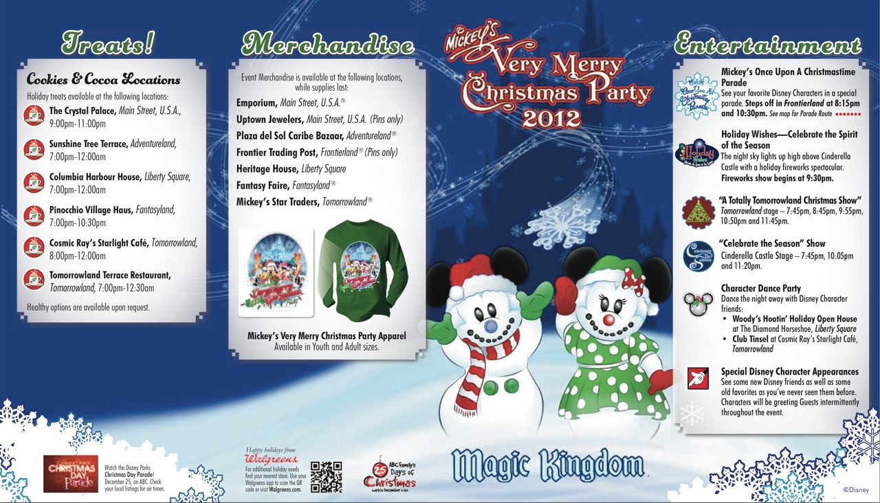 Mickey's Very Merry Christmas Party 2012 guide map