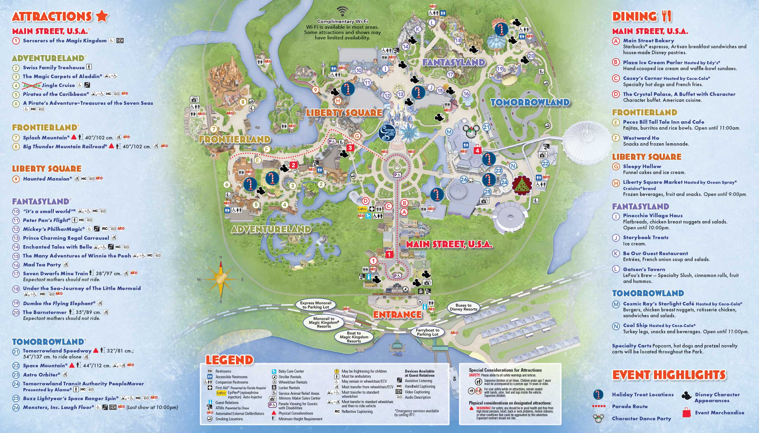 Mickey's Very Merry Christmas Party 2015 guide map - Back
