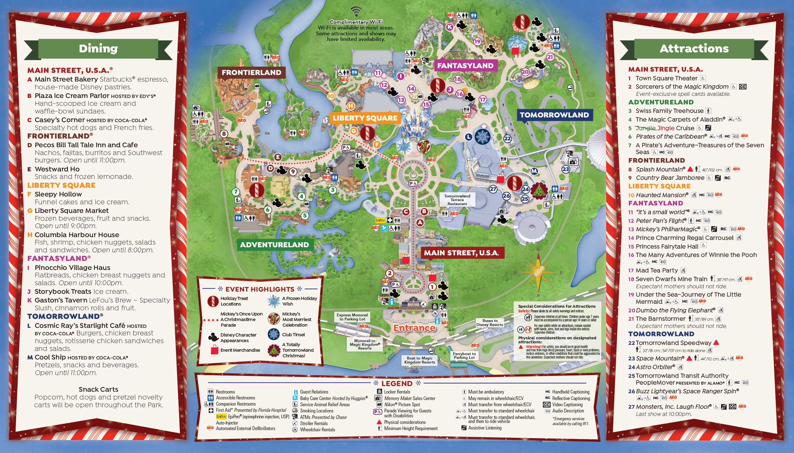 Mickey's Very Merry Christmas Party 2016 guide map - Back