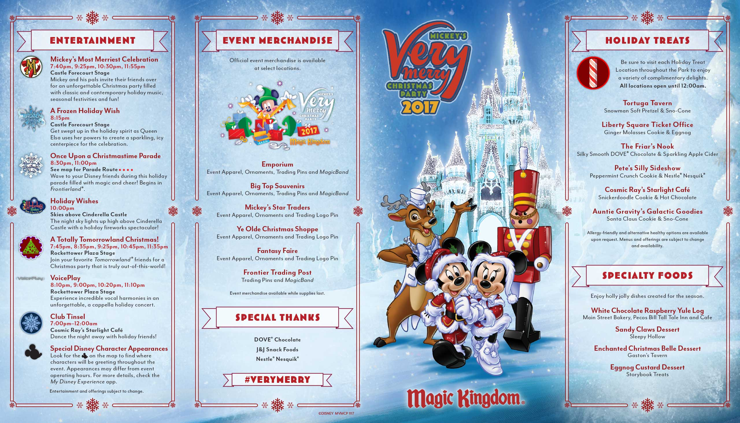Mickey's Very Merry Christmas Party 2017 guide map - Front