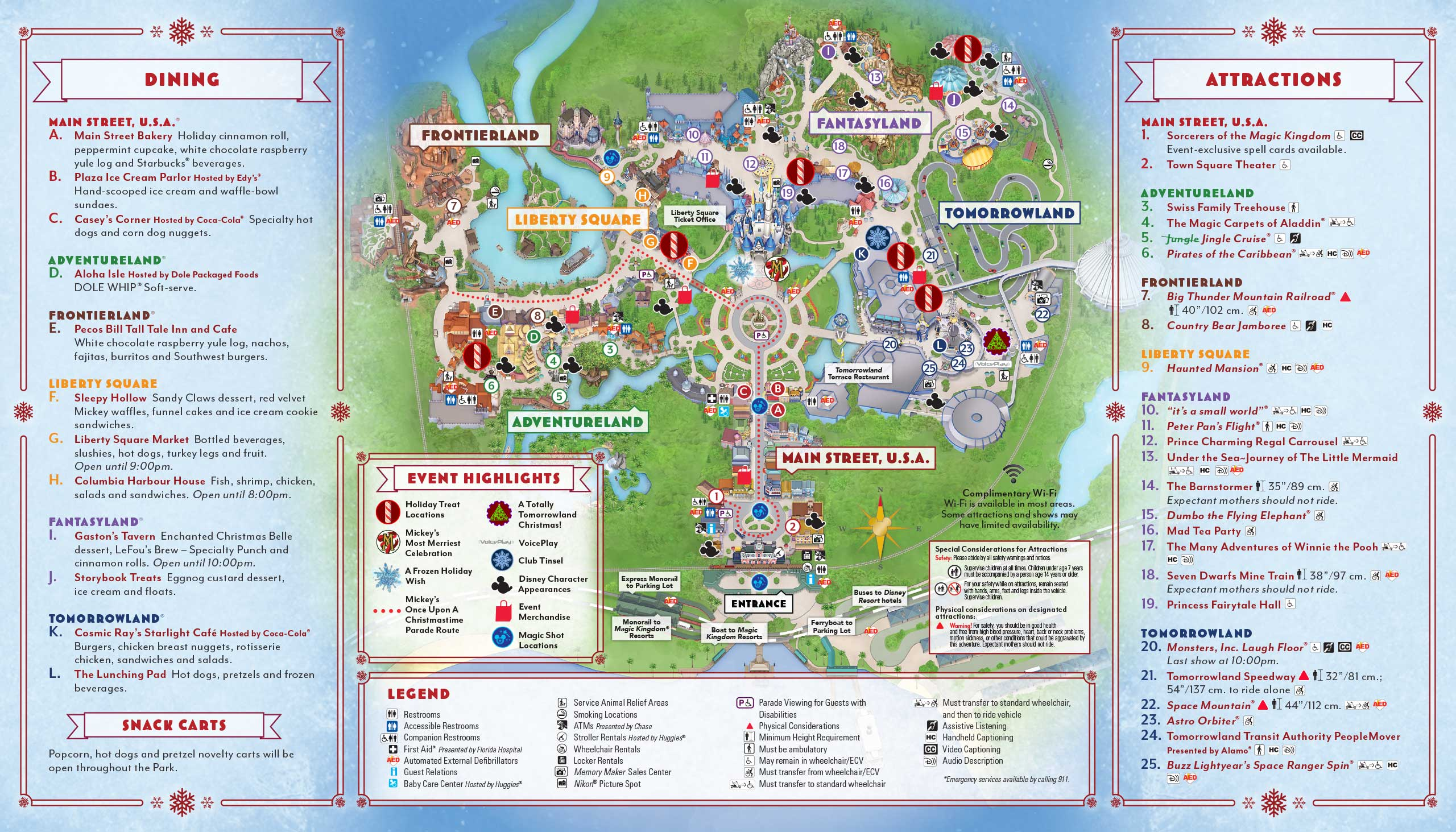 Mickey's Very Merry Christmas Party 2017 guide map - Back