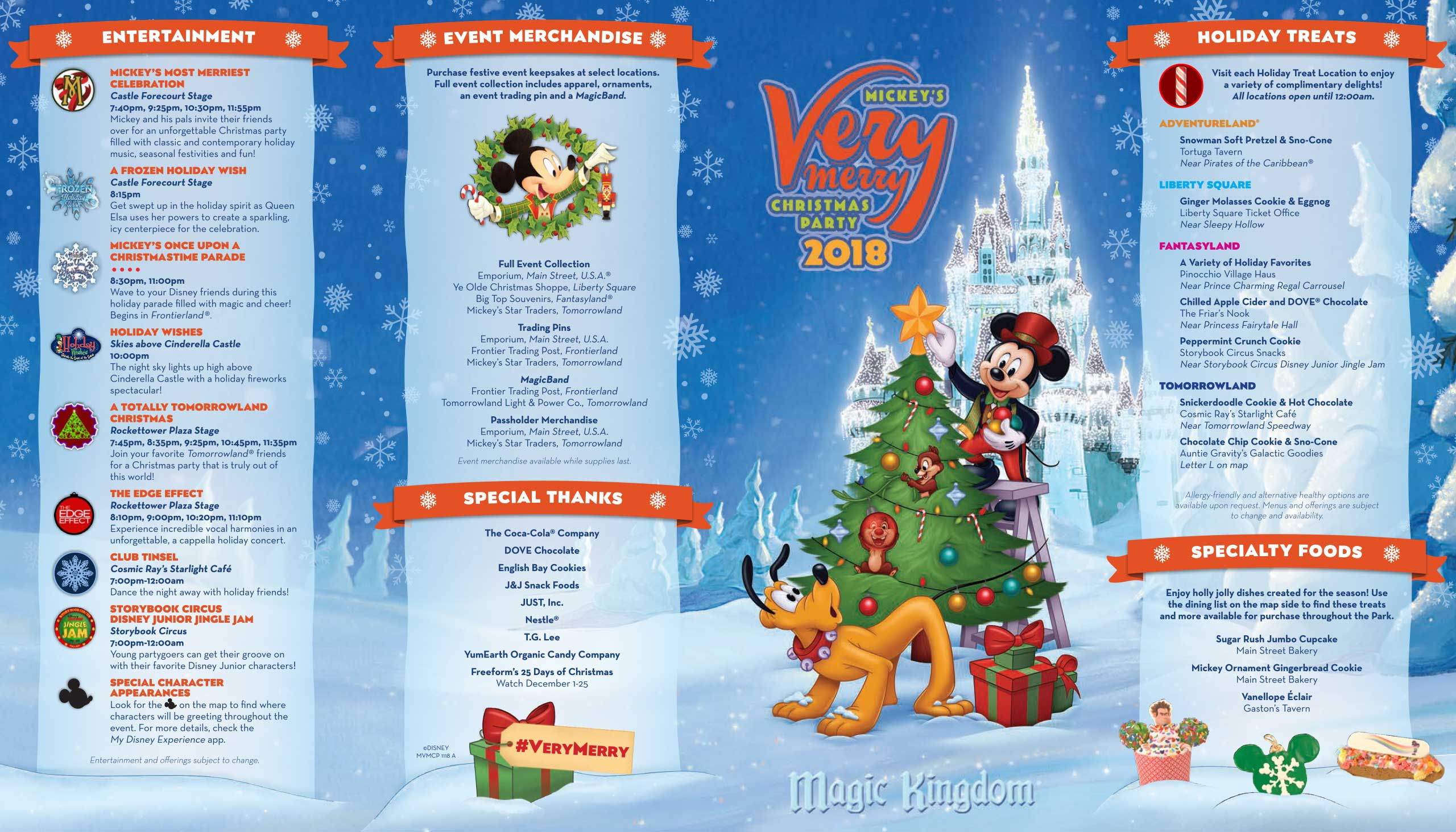 Mickey's Very Merry Christmas Party 2018 guide map - front