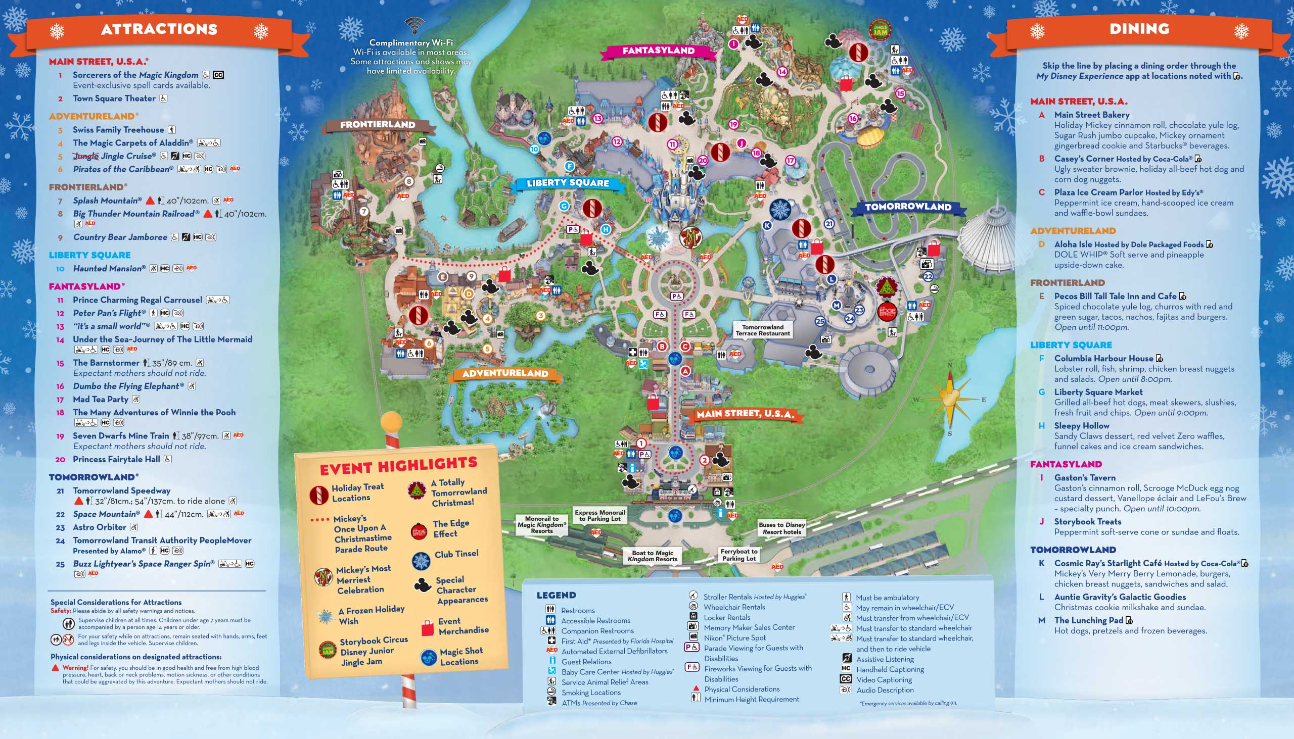 Mickey's Very Merry Christmas Party 2018 guide map - back