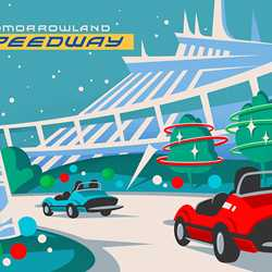 Tomorrowland Speedway holiday overlay for Mickey's Very Merry Christmas Party nights
