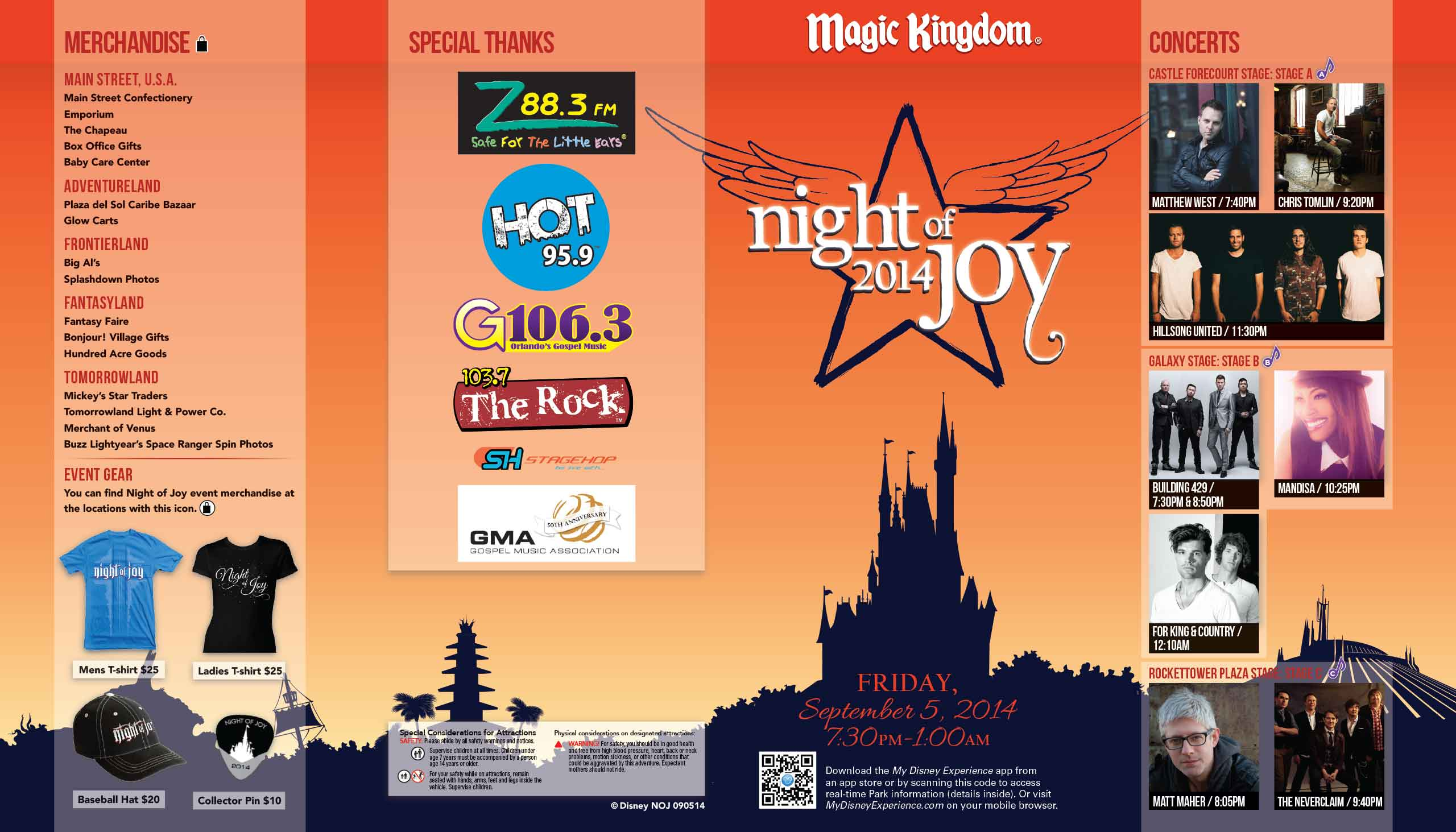 Night of Joy 2014 Guide Map - September 5 2014 front