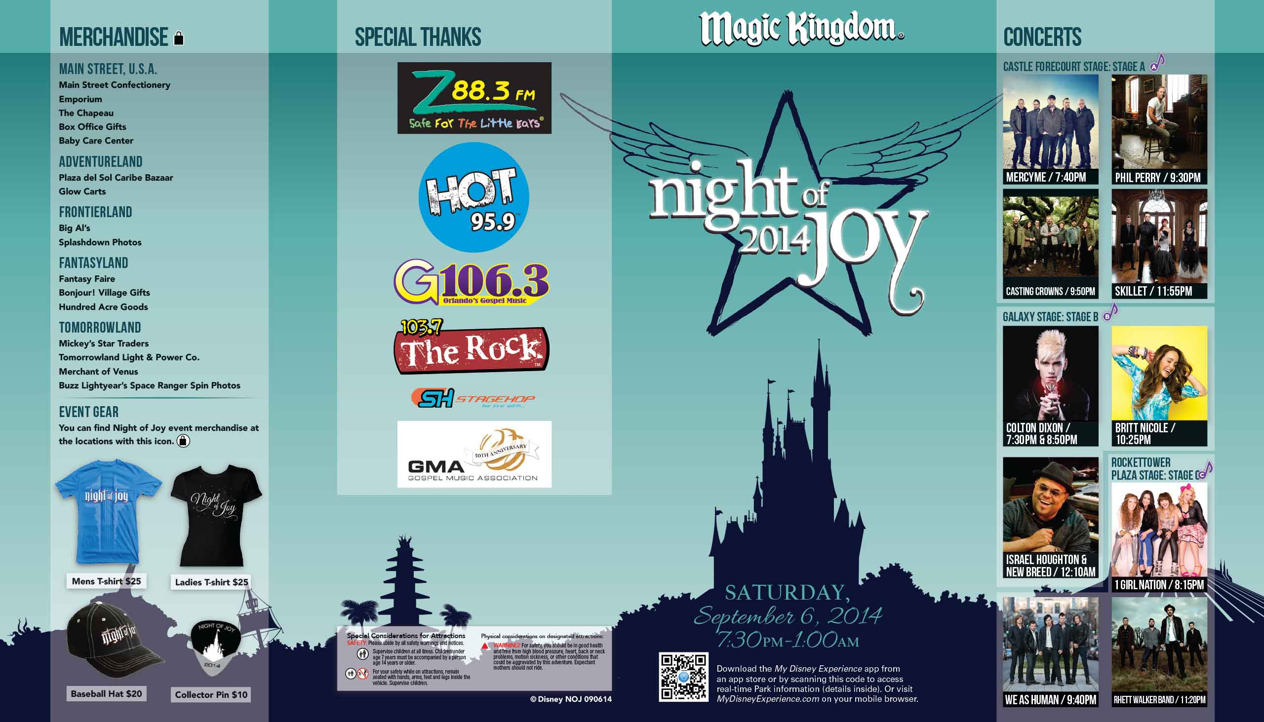 Night of Joy 2014 Guide Map - September 6 2014 front