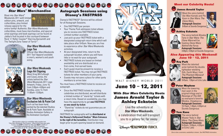 2011 Star Wars Weekends June 10-12 guide map