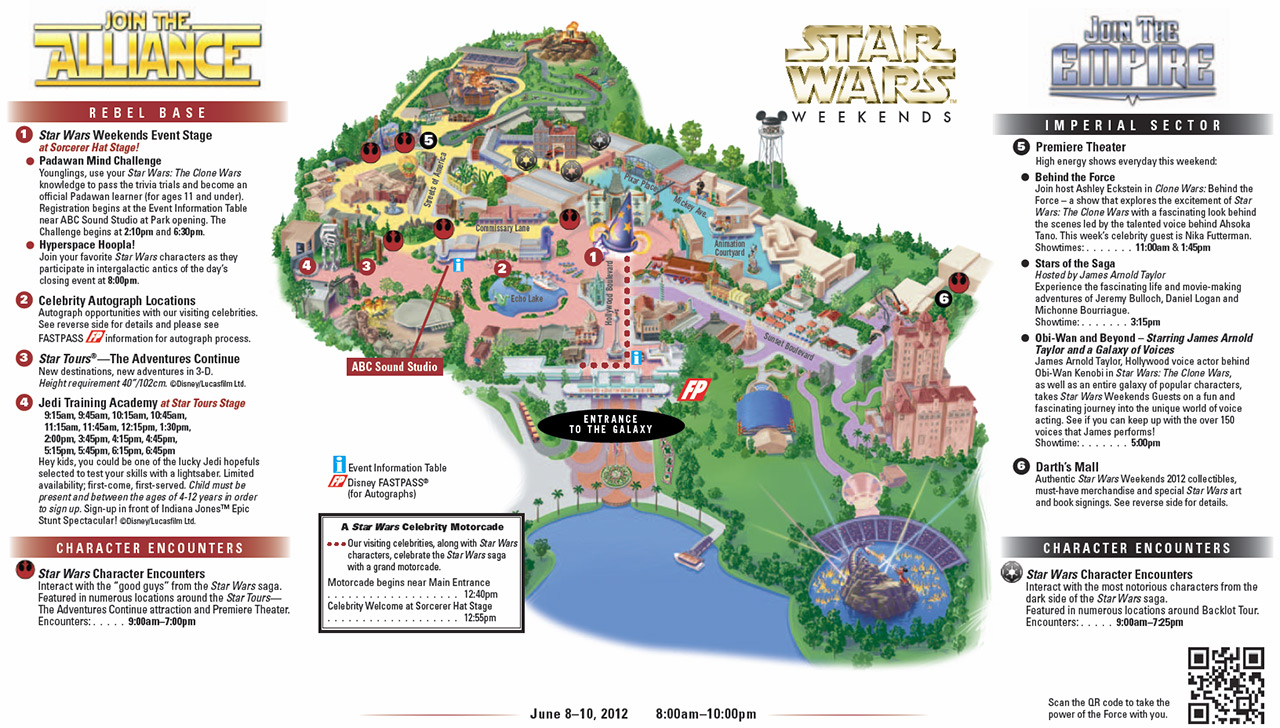 2012 Star Wars Weekends June 8 - June 10 guide map