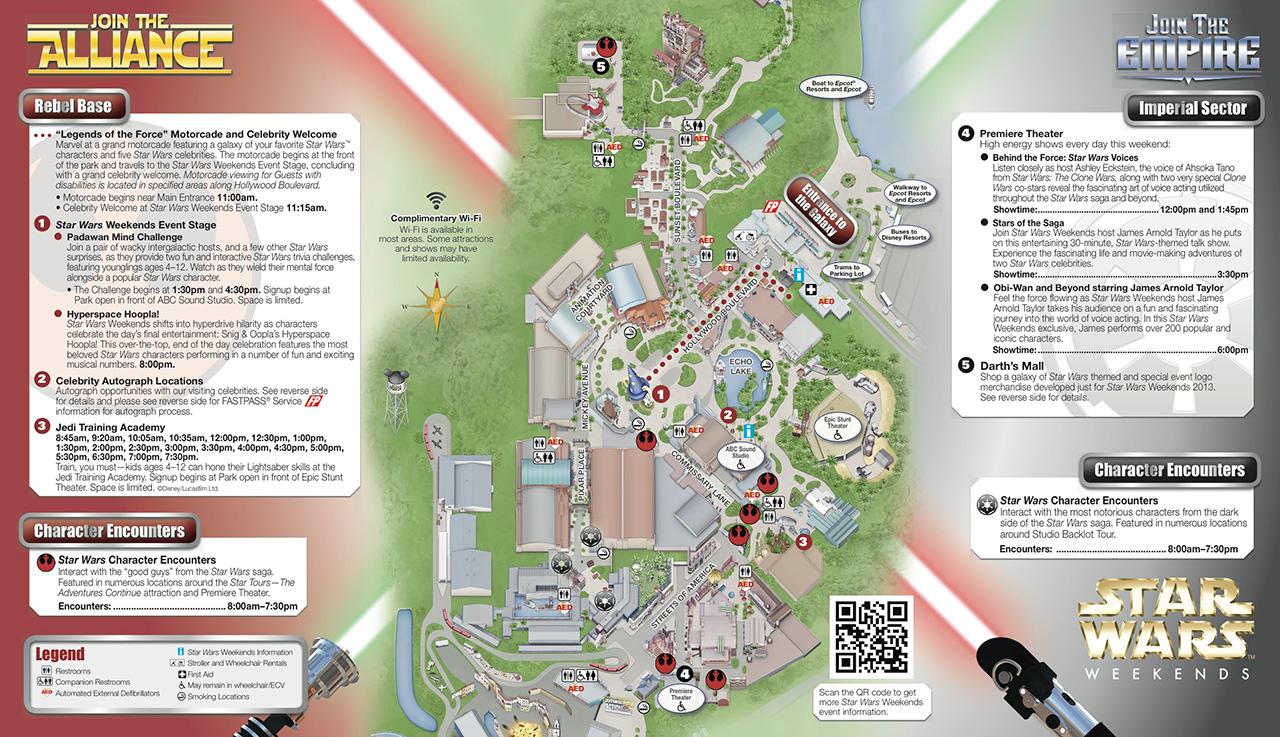 2013 Star Wars Weekends June 7 - June 9 guide map