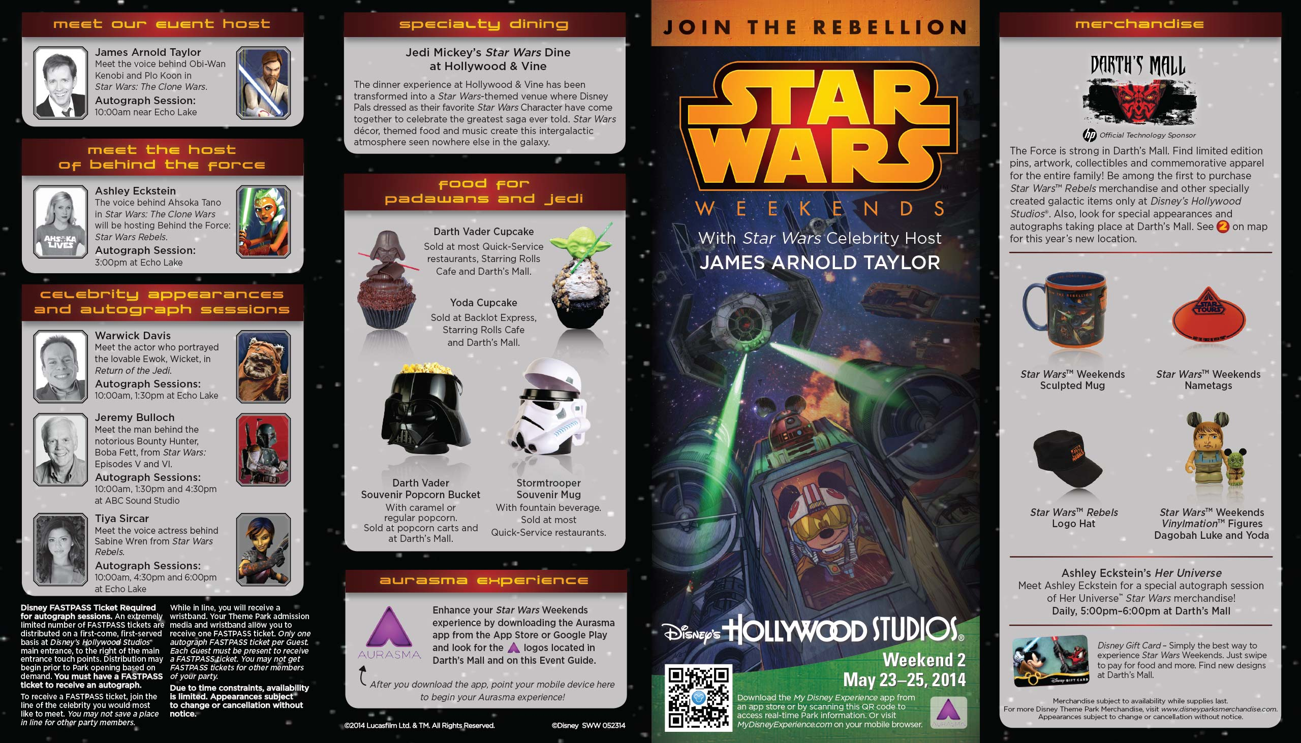 2014 Star Wars Weekends May 23 - 25 Weekend 2 guide map front