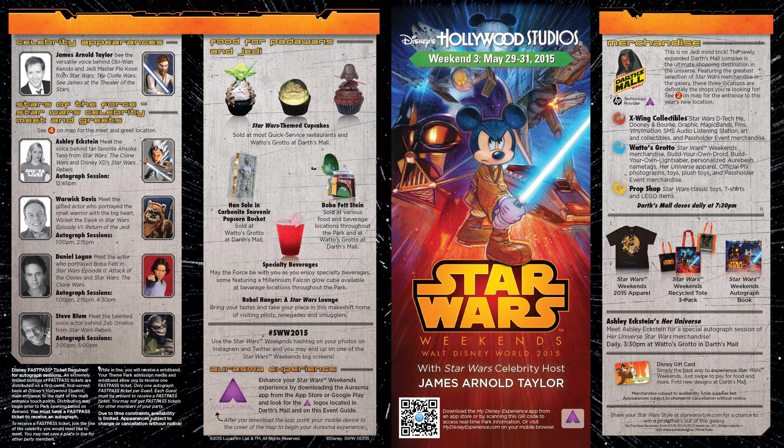2015 Star Wars Weekends May 29-31 Weekend 3 guide map