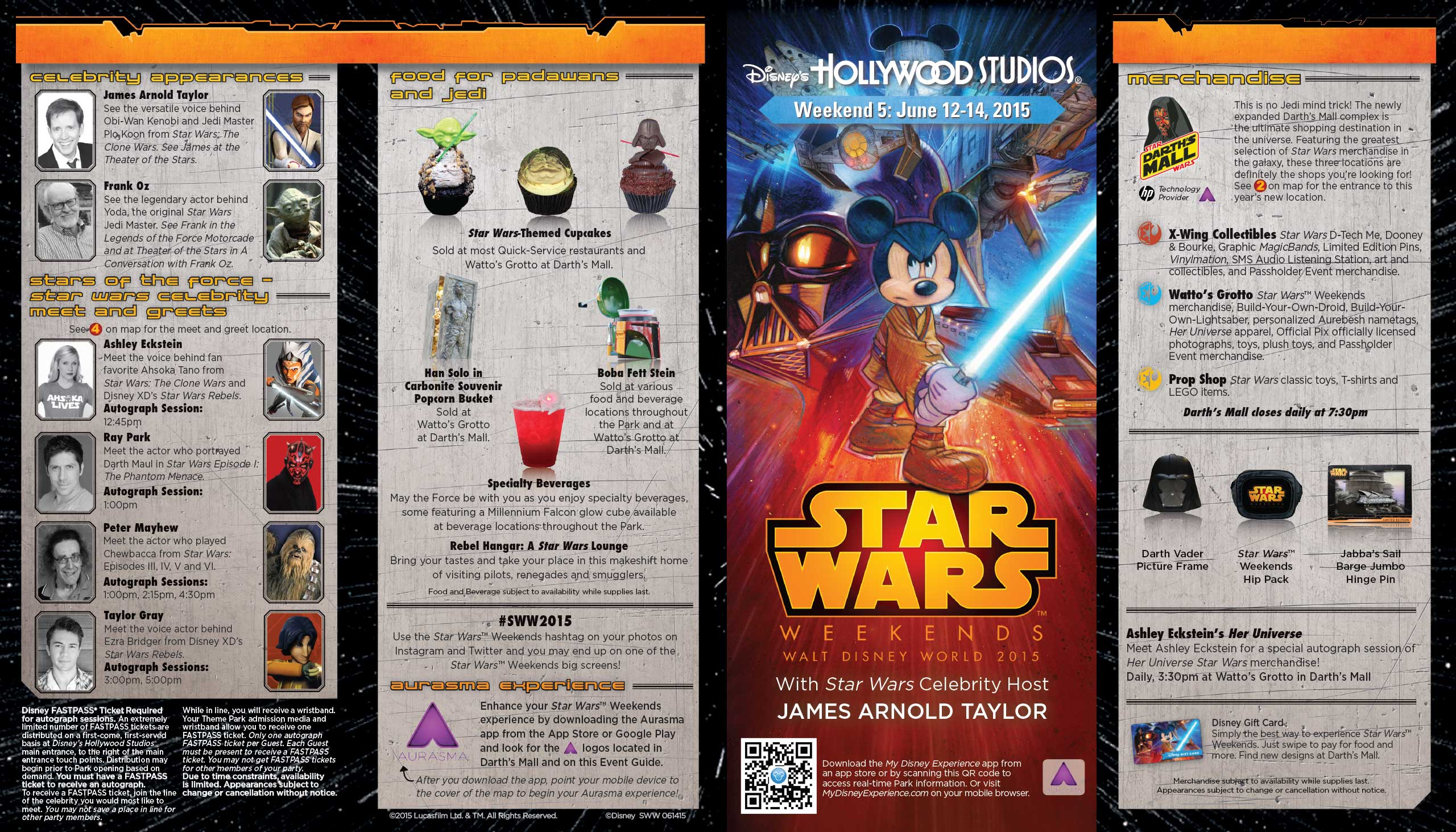 2015 Star Wars Weekends June 12 - 14 Weekend 5 guide map - Front