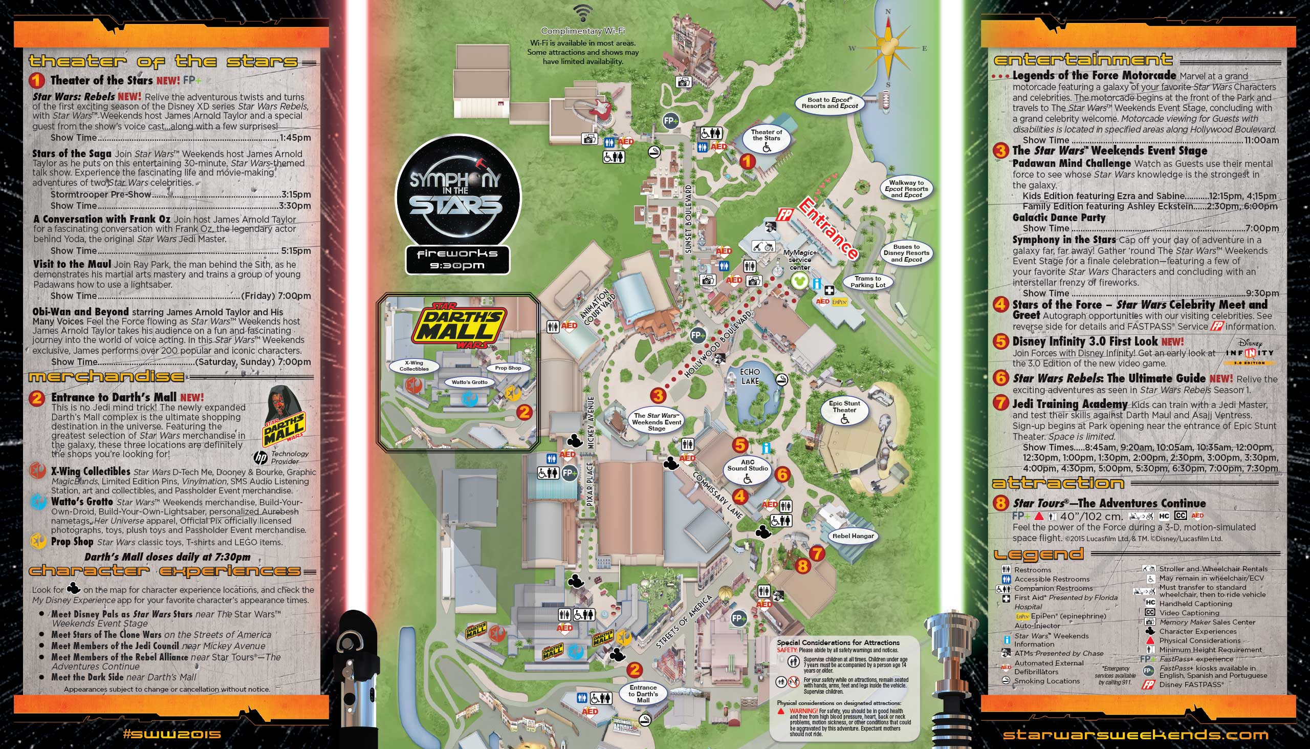 2015 Star Wars Weekends June 12 - 14 Weekend 5 guide map - Back