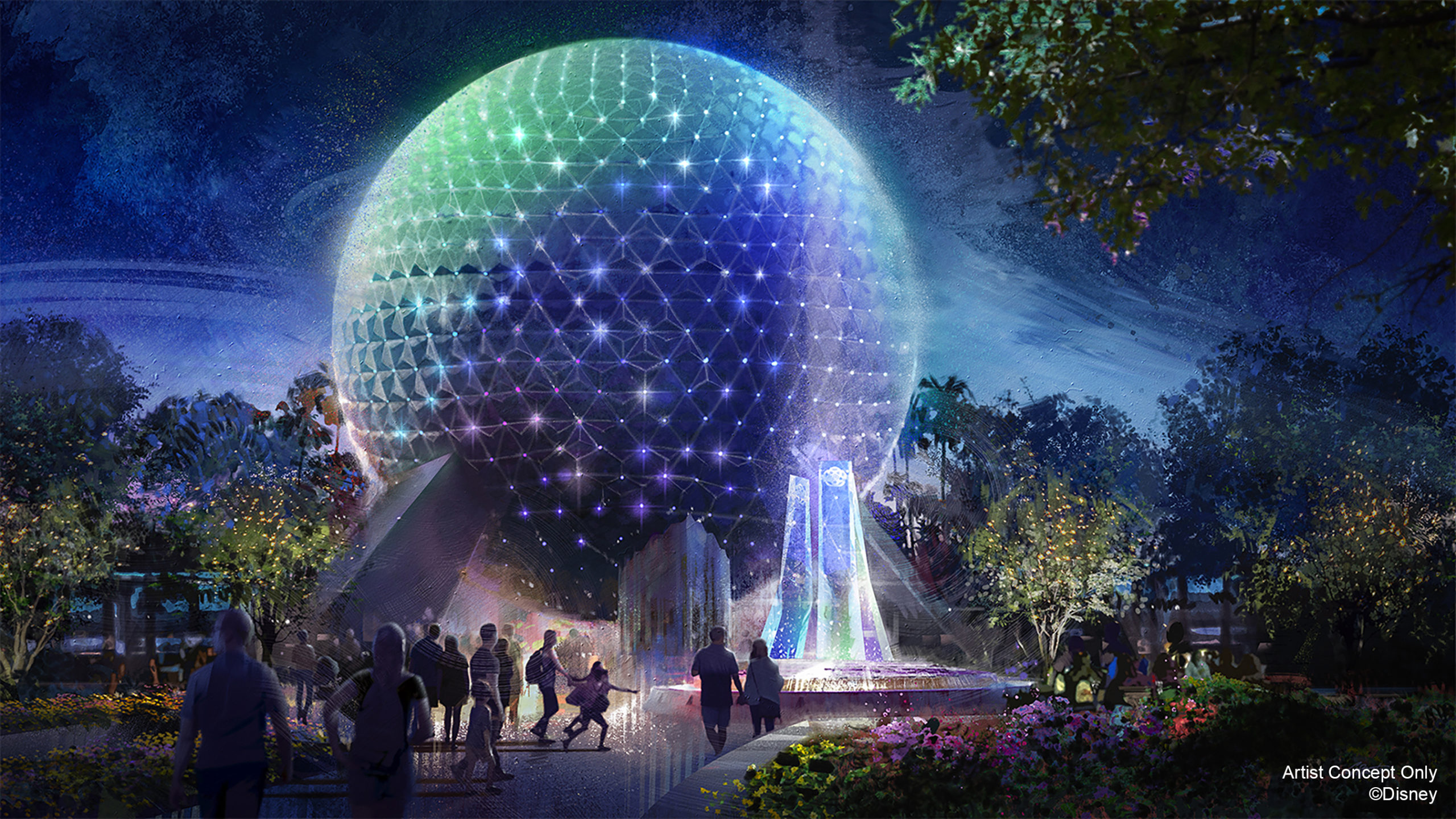 Spaceship Earth will come to life at night with their own EARidescent glow