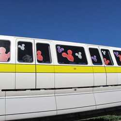Celebrate Today graphics on the monorails