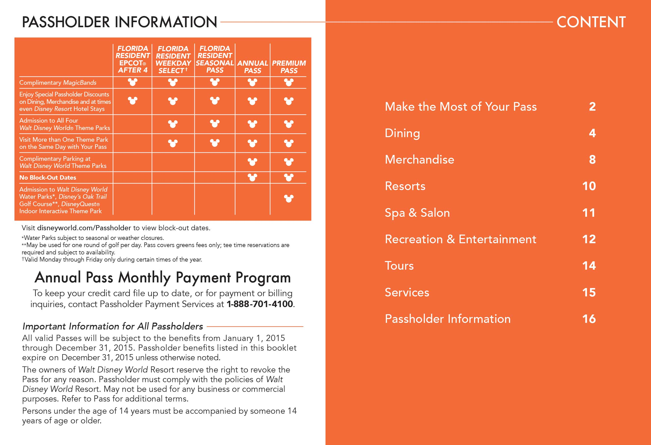 2015 Passholder Benefits Guide