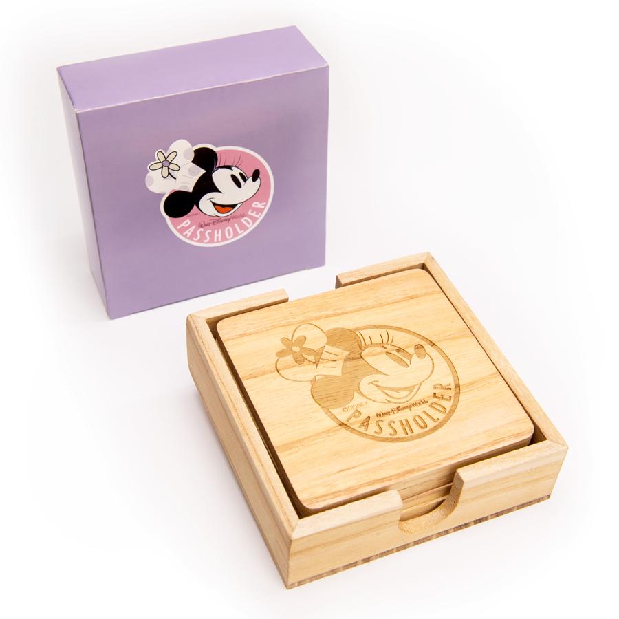 Chef Minnie wooden coaster set