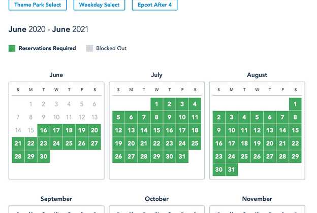 Passholder Admission Calendar including Reservations Required