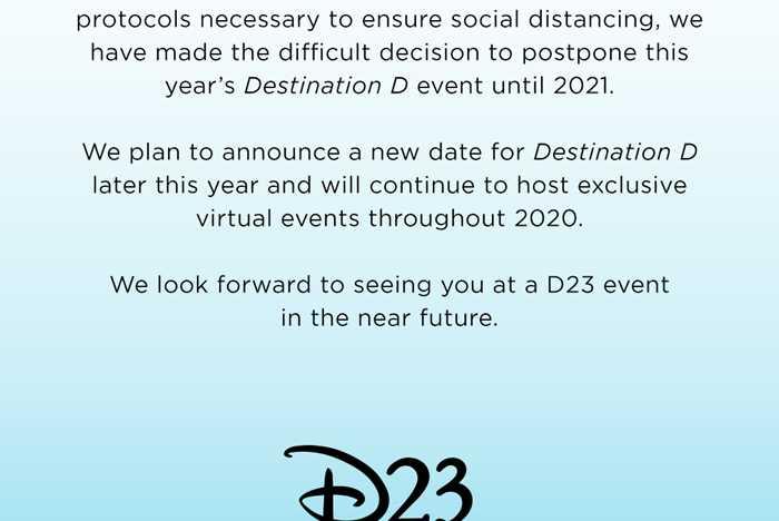 Destination D postponement notice