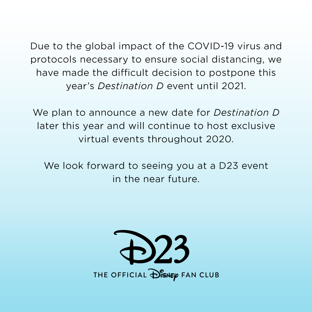 Destination D postponement notice