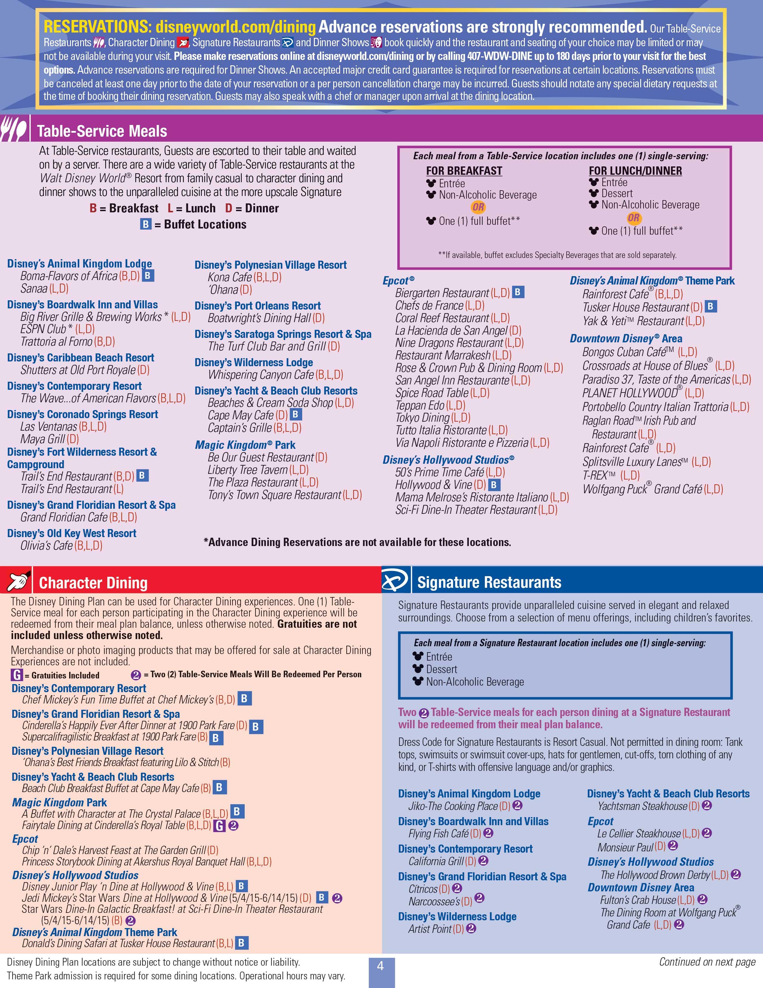 2015 Disney Dining Plan Brochures Photo 6 Of 30