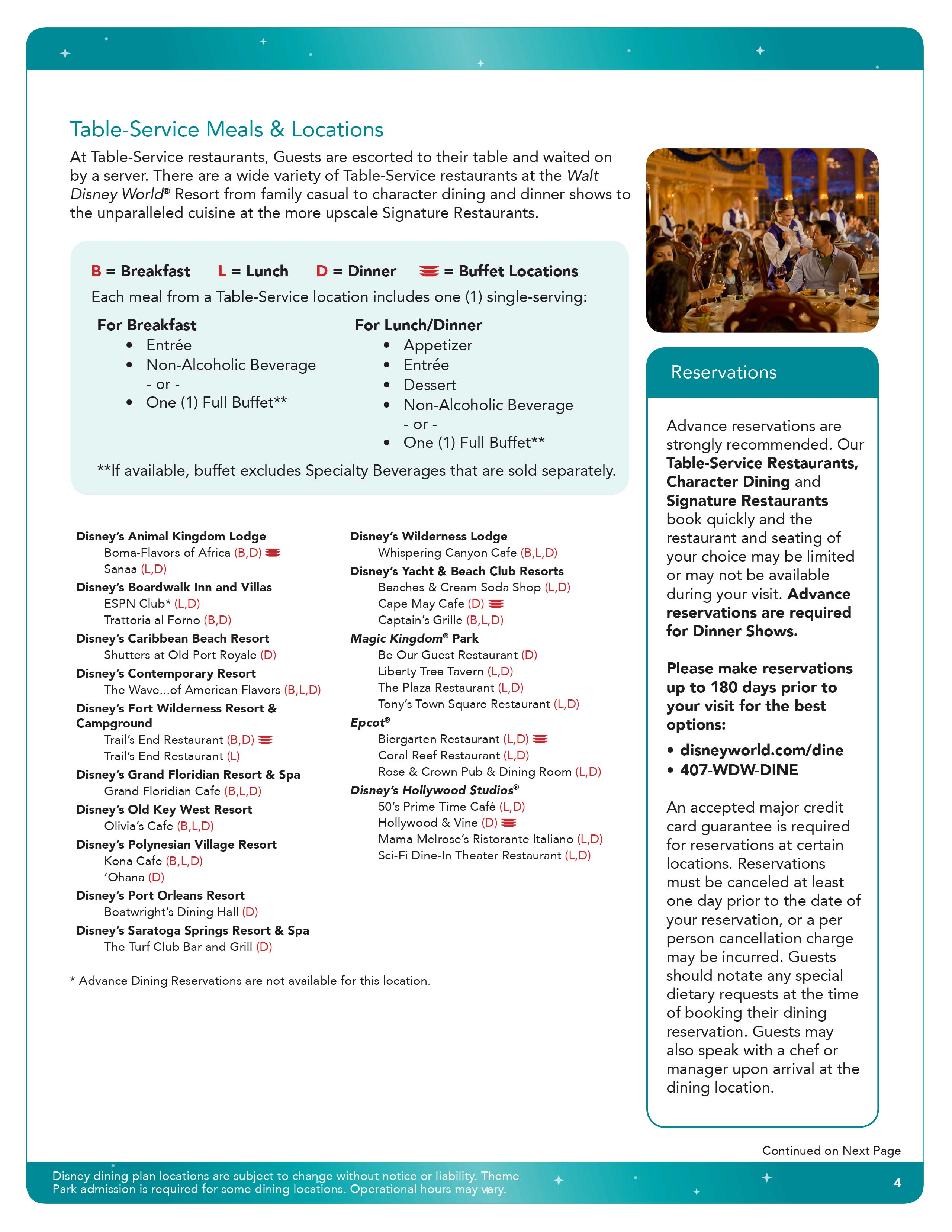 2016 Disney Dining Plan Brochures Photo 36 Of 41