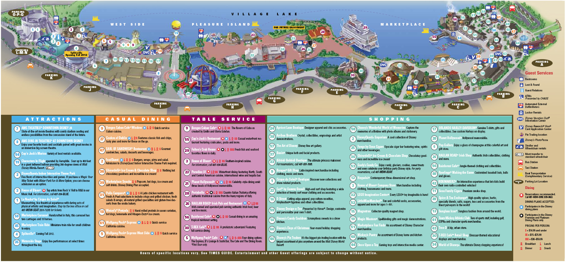 map of downtown disney orlando fl Downtown Disney Map September 2011 Photo 1 Of 1 map of downtown disney orlando fl