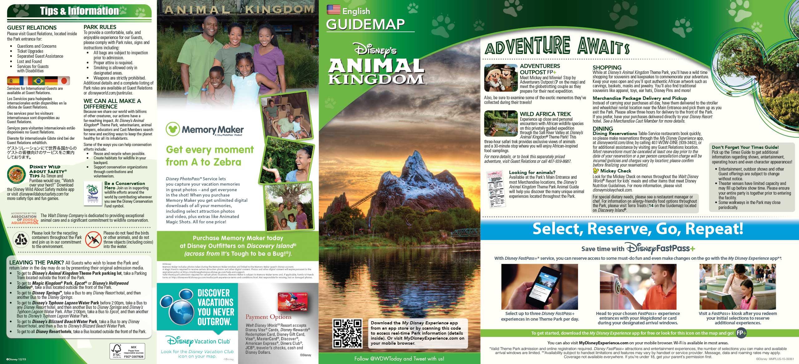 January 2016 Walt Disney World Park Maps