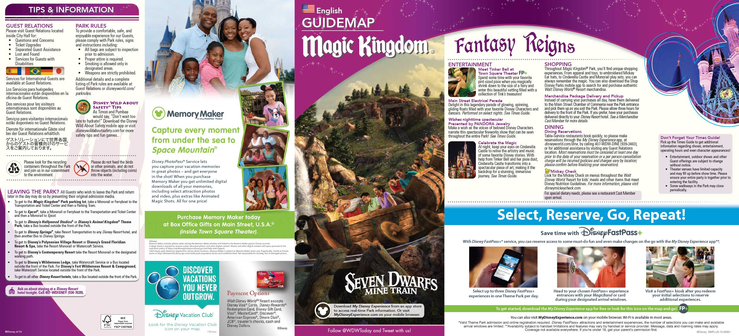 June 2016 Walt Disney World Park Maps