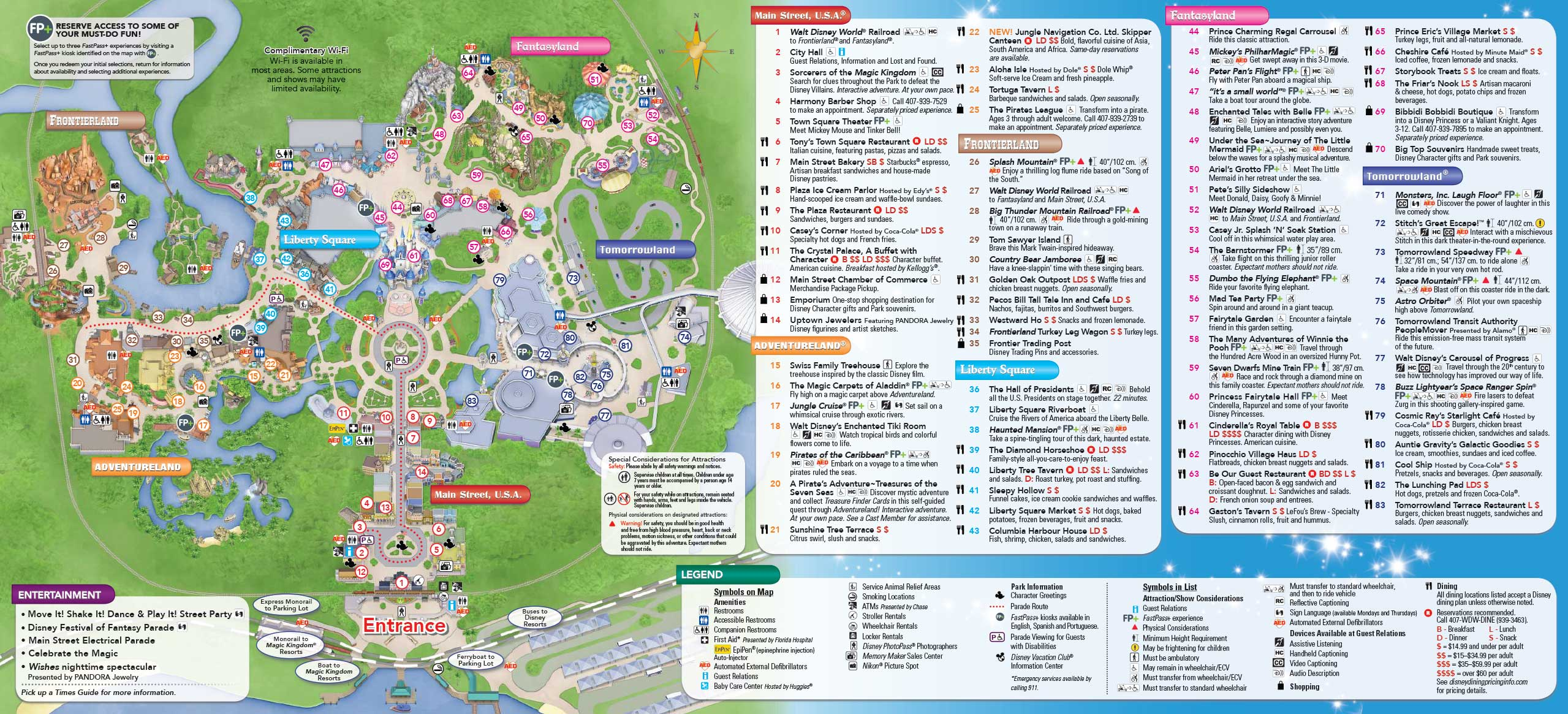 Magic Kingdom guide map June 2016 - Back