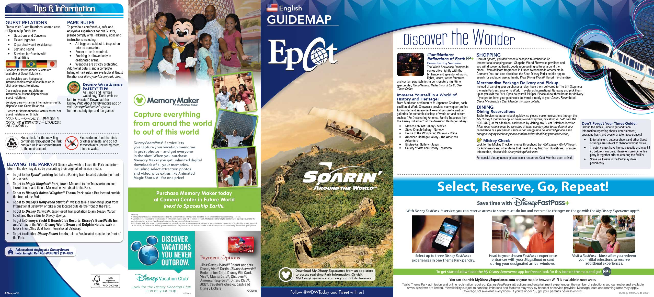 Epcot guide map June 2016 - Front