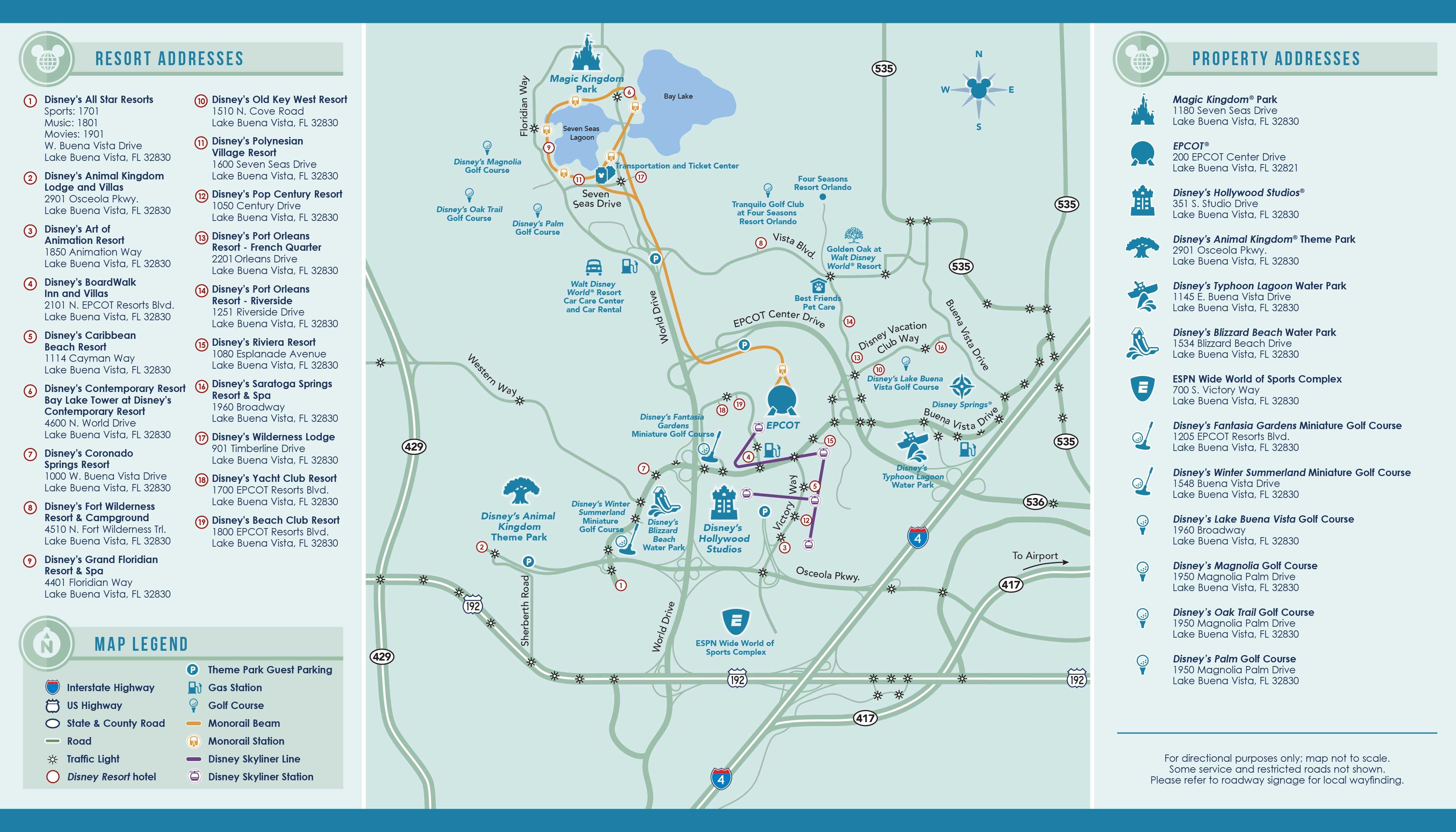 Walt Disney World Property Map September 2020