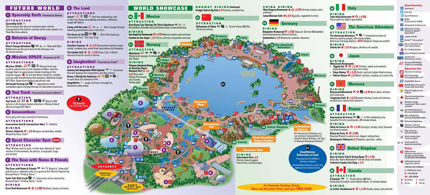 photograph regarding Printable Epcot Map called Park Maps 2008 - Picture 2 of 4
