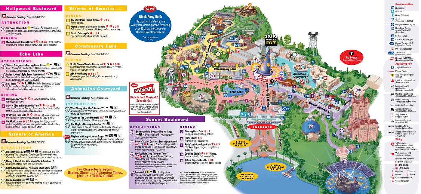 Park Maps 2008 - Photo 3 of 4 Disney Hollywood Studios Map on