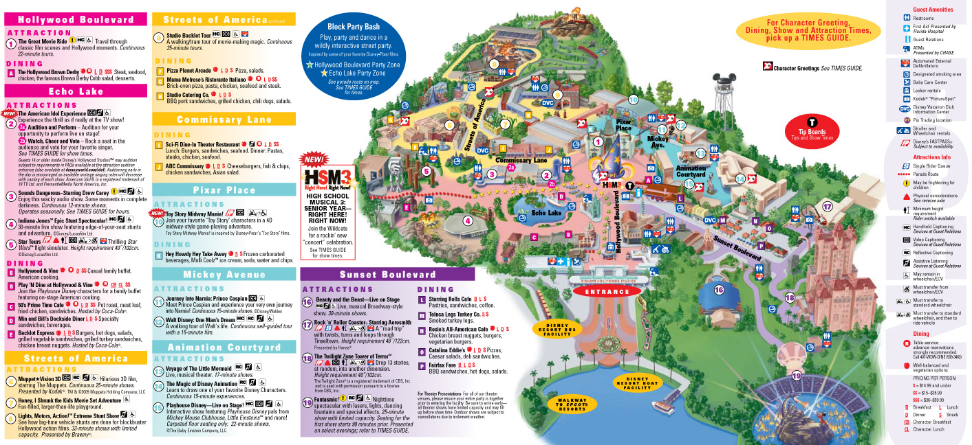 Map Of Disney Hollywood Studios Park Maps 2009   Photo 4 of 4