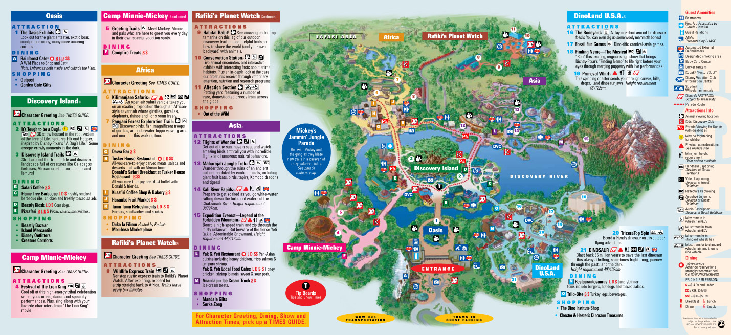 picture about Printable Animal Kingdom Map identified as Park Maps 2010 - Image 1 of 4