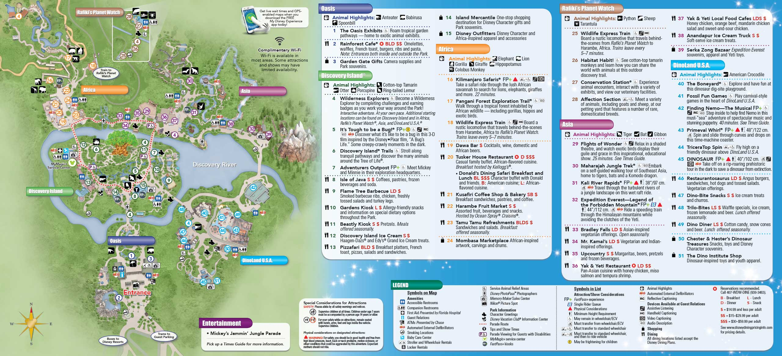 Disney's Animal Kingdom guide map with MyMagic+ and FastPass+ details