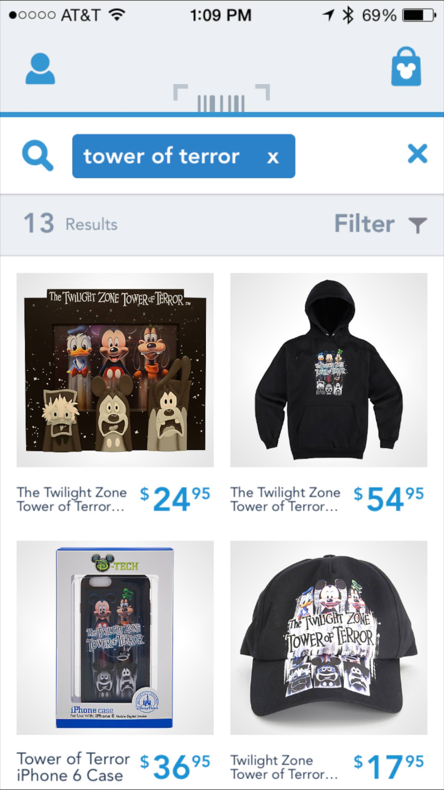 Shop Disney Parks app - Search for Tower of Terror