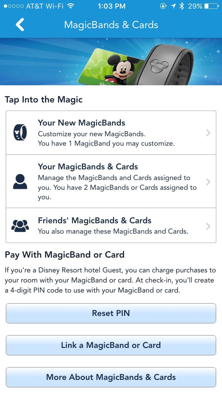 My Disney Experience PIN code reset screen