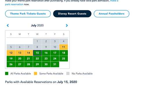 Disney Parks Pass reservations begin and new availability calendar now available