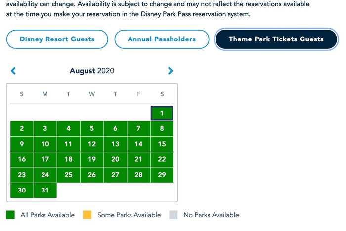 Disney Parks Pass availability - July 24