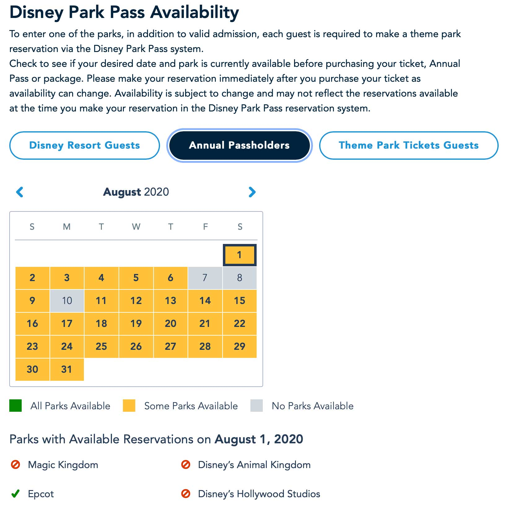 Disney Parks Pass availability for Annual Passholders