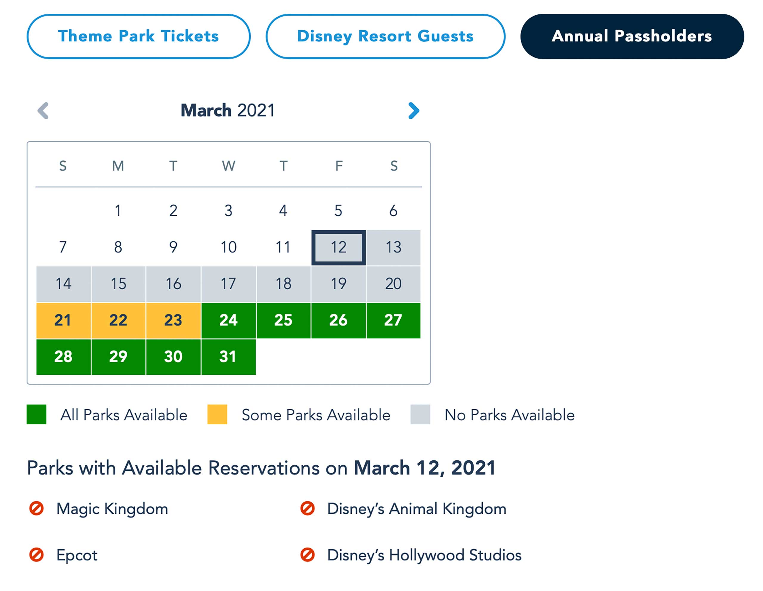Disney Parks Pass availability - March 12 2021