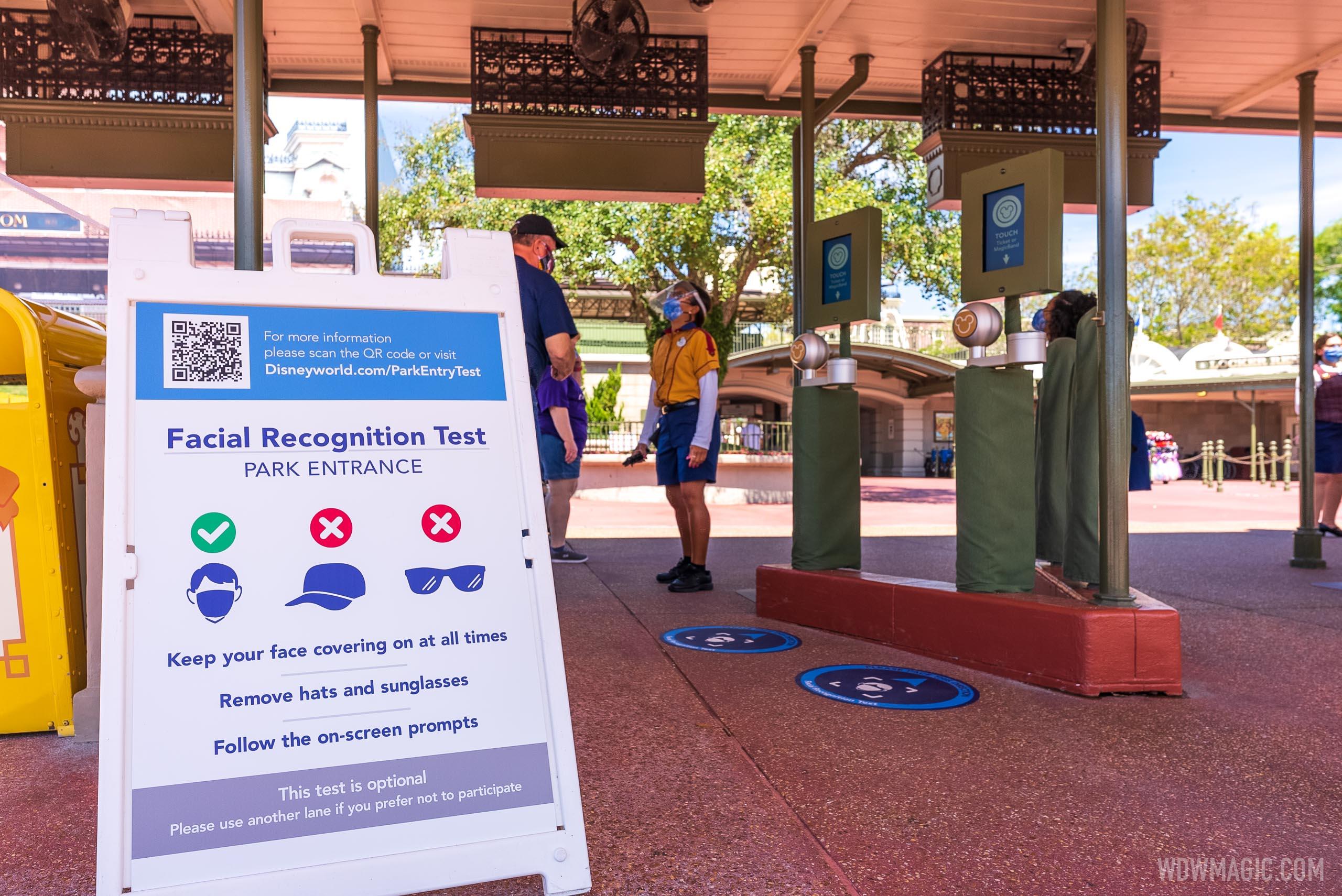 Magic Kingdom main entrance Facial Recognition test