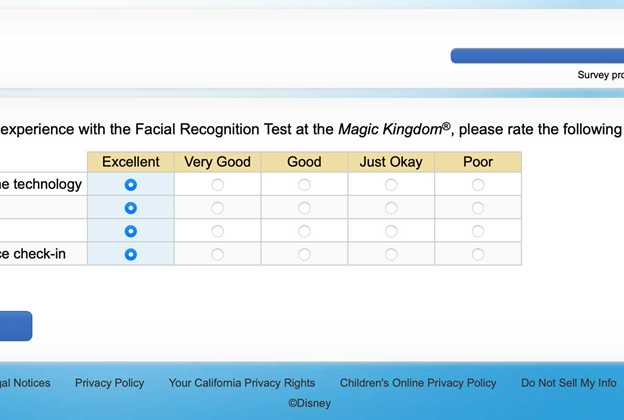 Disney Magic Kingdom facial recondition survey