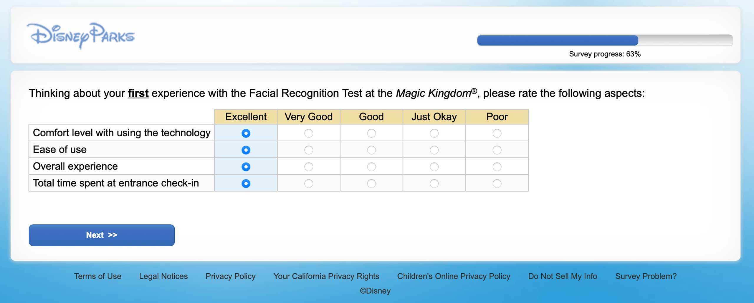 Disney Magic Kingdom facial recondition survey