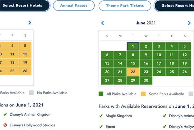 Disney Park Pass June 2021 as of April 14