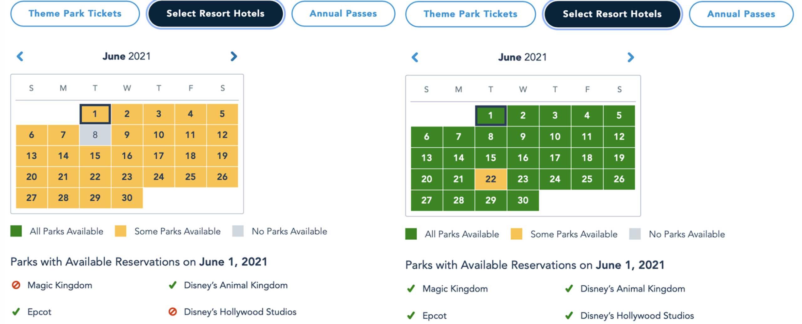 Disney Park Pass June 2021 as of April 14