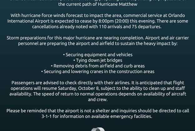 Orlando International Airport status ahead of Hurricane Matthew